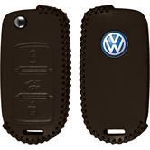 PhoneNatic Funda de  para mando de 3 botones de VW Polo en marrón Llave plegable de 3-Key