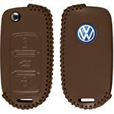 PhoneNatic Funda de  para mando de 3 botones de VW Sagitar en marrón claro Llave plegable de 3-Key