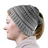 cosey - knit winter cap with ponytail hole for ladies and girls in black