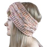 Cosey- lined soft knitted headband with inner fleece in speckled pink