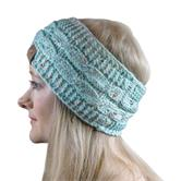 Cosey- lined soft knitted headband with inner fleece in speckled light blue