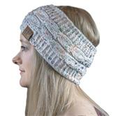 Cosey- lined soft knitted headband with inner fleece in speckled white