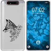 Samsung Galaxy A80 Silicone Case floral Fox M1-1