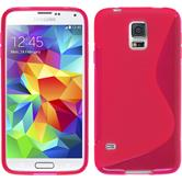 Silikon Hülle Galaxy S5 mini S-Style pink + 2 Schutzfolien