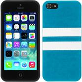 Silicone Case for Apple iPhone SE Stripes turquoise