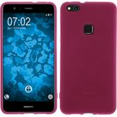 Silicone Case P10 Lite matt hot pink + protective foils