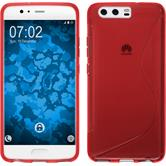 Silicone Case P10 S-Style red + protective foils