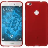 Silicone Case P8 Lite 2017 matt red + protective foils