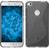 Silicone Case P8 Lite 2017 S-Style gray + protective foils