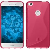 Silicone Case P8 Lite 2017 S-Style hot pink + protective foils