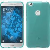 Silicone Case P8 Lite 2017 transparent turquoise + protective foils