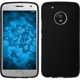 Silicone Case Moto G5 Plus matt black + protective foils