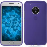 Silicone Case Moto G5 Plus matt purple + protective foils