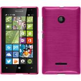 Silicone Case for Microsoft Lumia 435 brushed hot pink