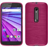 Silicone Case for Motorola Moto G 2015 3. Generation brushed hot pink