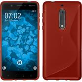 Silicone Case 5 S-Style red + protective foils