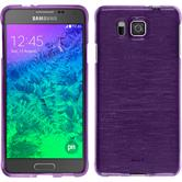Silicone Case for Samsung Galaxy Alpha brushed purple