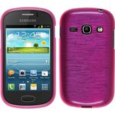Silicone Case for Samsung Galaxy Fame brushed hot pink