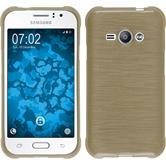 Silicone Case for Samsung Galaxy J1 Ace brushed gold