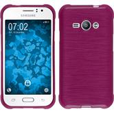 Silicone Case for Samsung Galaxy J1 Ace brushed hot pink