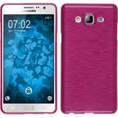 Silicone Case for Samsung Galaxy On7 brushed hot pink