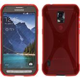 Silicone Case for Samsung Galaxy S5 Active X-Style red