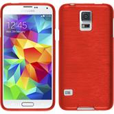 Silicone Case for Samsung Galaxy S5 mini brushed red