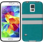 Silicone Case for Samsung Galaxy S5 Neo Stripes turquoise