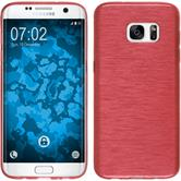 Silicone Case for Samsung Galaxy S7 Edge brushed red