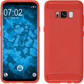 Silicone Case Galaxy S8 Plus Ultimate red + Flexible protective film