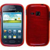Silicone Case for Samsung Galaxy Young brushed red