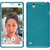 Silicone Case for Sony Xperia C4 / Dual brushed blue