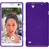 Silicone Case for Sony Xperia C4 / Dual brushed purple