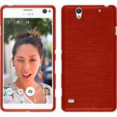 Silicone Case for Sony Xperia C4 / Dual brushed red