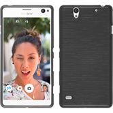 Silicone Case for Sony Xperia C4 / Dual brushed silver