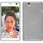 Silicone Case for Sony Xperia C4 / Dual brushed white