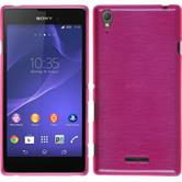 Silicone Case for Sony Xperia T3 brushed hot pink