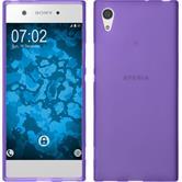 Silicone Case Xperia XA1 matt purple + protective foils
