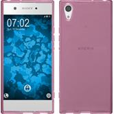 Silicone Case Xperia XA1 transparent pink + protective foils