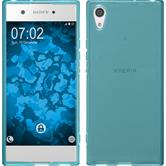 Silicone Case Xperia XA1 transparent turquoise + protective foils