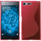 Silicone Case Xperia XZ Premium S-Style hot pink + protective foils