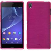 Silicone Case for Sony Xperia Z3 brushed hot pink