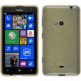 Silikon Hülle Nokia Lumia 625 brushed gold + 2 Schutzfolien