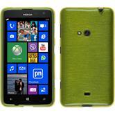Silikon Hülle Nokia Lumia 625 brushed pastellgrün + 2 Schutzfolien