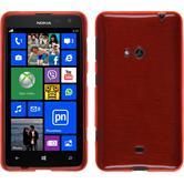 Silikon Hülle Nokia Lumia 625 brushed rot + 2 Schutzfolien