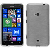Silikon Hülle Nokia Lumia 625 brushed weiß + 2 Schutzfolien