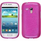 Silicone Case for Samsung Galaxy S3 Mini brushed hot pink