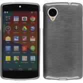 Silikon Hülle Nexus 5 brushed silber + 2 Schutzfolien
