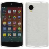 Silikon Hülle Nexus 5 brushed weiß + 2 Schutzfolien