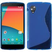 Silikon Hülle Nexus 5 S-Style blau + 2 Schutzfolien